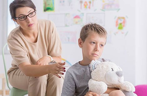 Child frustrated speaking with counselor